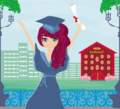 Illustration of a Kid Holding Her Diploma  — Vector de stock