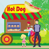 Hot dog booth stand in the city  — Stock Vector