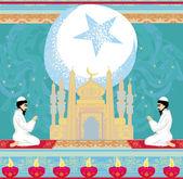 Abstract religious background - Muslim men praying  — Stockvector