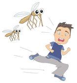 Boy runs away from mosquitoes — Stock Vector