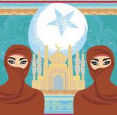 Mooie moslim vrouwen op moskee achtergrond. — Stockvector