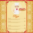 Pizza Menu with chef Template card — Stock Vector