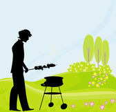 Barbecue Party Invitation with man silhouette grilling in the pa — Stock Vector