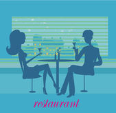 Young couple silhouette flirt and drink champagne in the restaurant — Stock Vector