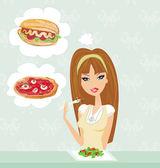 Diet girl eating temptation  — Stock Vector