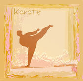 Karate man silhouette Grunge poster — Stok Vektör