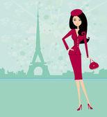 Beautiful women Shopping in Paris - vector card  — 图库矢量图片
