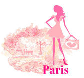 Beautiful women silhouette Shopping in Paris - vector card — Stock Vector