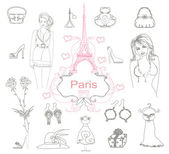 Paris fashion doodles set — Stock Vector