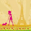 Girl silhouette with her dog in Paris — Stock Vector #43743431