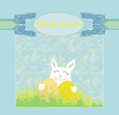 Illustration of happy Easter bunny carrying egg  — Stock Vector