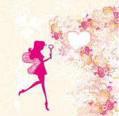Floral background with a beautiful fairy silhouette card — 图库矢量图片