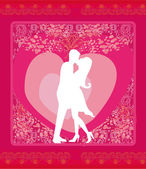 Greeting card with silhouette of romantic couple  — Stock Vector