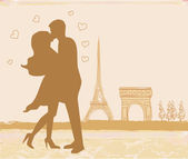Romantic couple in Paris kissing near the Eiffel Tower. Retro card. — Stock Vector