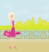Fashion girl Shopping in the city illustration  — Stock Vector