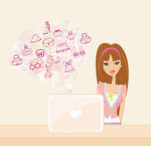 Online shopping - young smiling woman sitting with laptop comput — Stock Vector