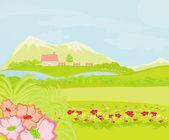 Spring rural landscape.Vector Illustration — Vetorial Stock