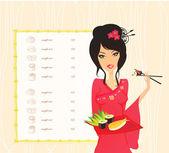 Hermosa chica asiática disfrutar de sushi - plantilla de menú — Vector de stock