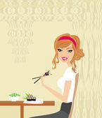 Vacker flicka njuta av sushi i restaurangen — Stockvektor