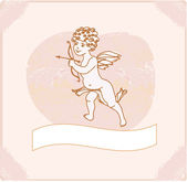 Happy valentine's day card with cupid — Stock Vector
