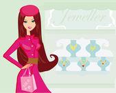 女孩和 jewellerys — 图库矢量图片