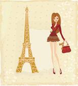 Beautiful fashion women Shopping in Paris - vector card  — Stock Vector
