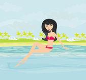 Vector image of girl in bikini and tropical pool  — Stockvektor