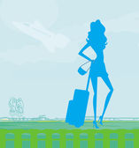 Beauty travel girl silhouette with baggage at the airport — Stock Vector