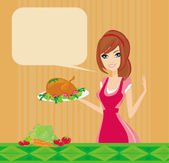 Beautiful lady cooking chicken or turkey — Stockvektor