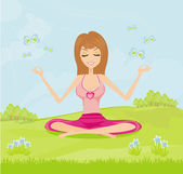 Girl sits and meditates in the park — Stock Vector