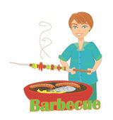 Man cooking on his barbecue — Stock Vector