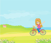 Happy Driving Bike with Cute Smiling Young Girl  — Stok Vektör