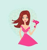 Mujer hermosa, secado de pelo por el secador — Vector de stock