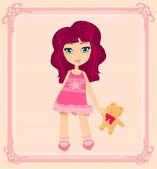 Sweet girl with teddy bear card — Stok Vektör