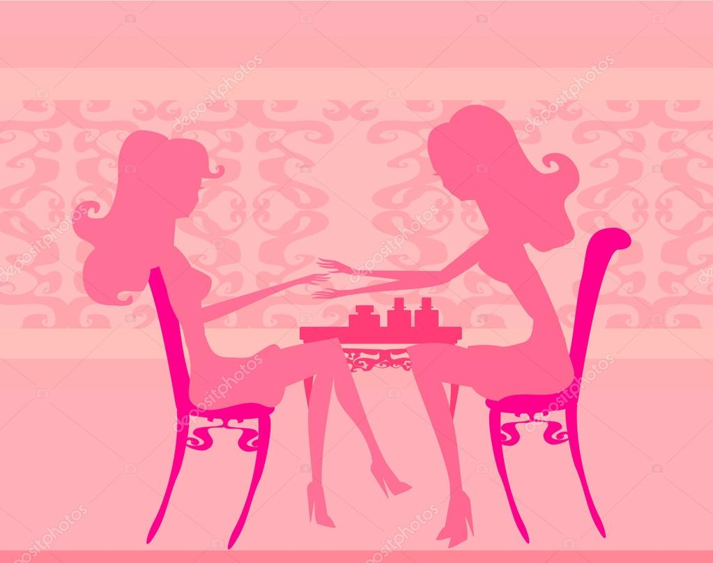 Young lady silhouette doing manicure in beauty salon for Salon younga