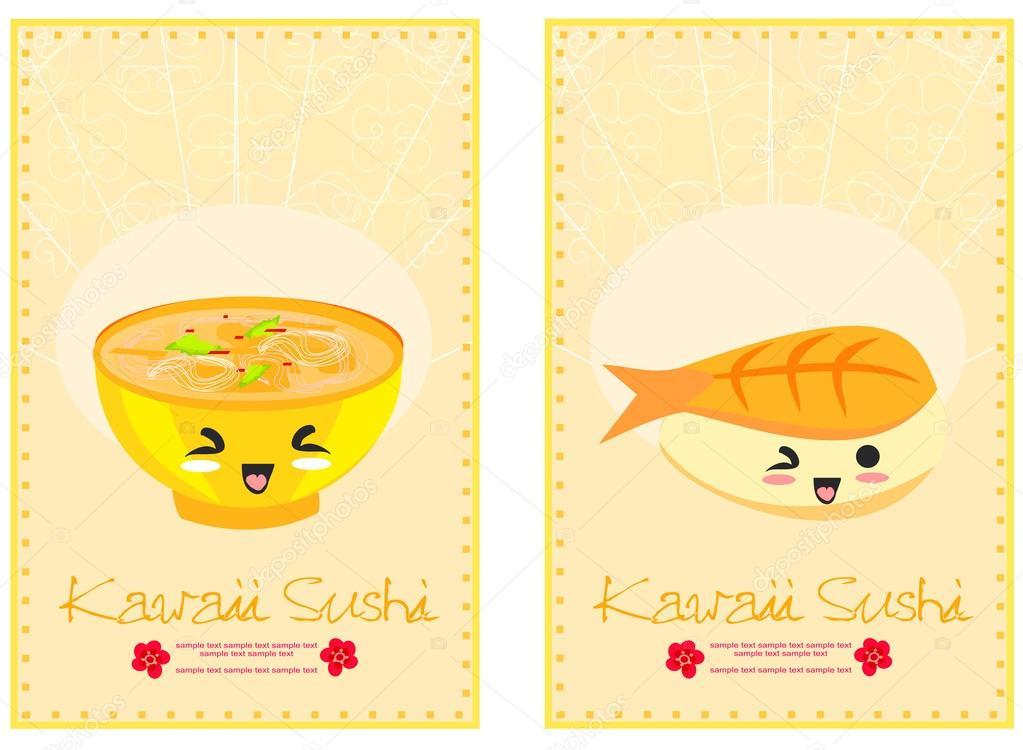 可爱寿司卡通插画-矢量卡