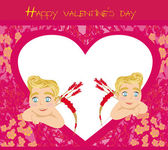 Happy valentines day vintage card with cupids  — Stock Vector
