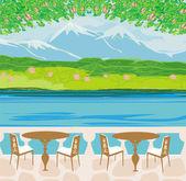 Vector landschap met bergen en café tabellen — Stockvector