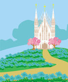 Landscape with a beautiful Catholic church — Stock Vector