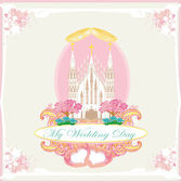 Vintage wedding card with rings and elegant Catholic Church — Vecteur