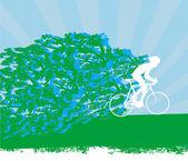Велосипедист, Абстрактный силуэт карты — Cтоковый вектор
