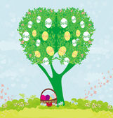Abstract tree with Easter eggs — Stock Vector