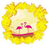 Flamingo couple in wild nature landscape  — Stockvector