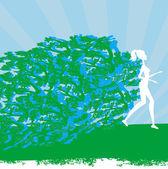 Jogging girl - Abstract silhouettes card — Vector de stock