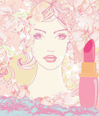 Beautiful woman with painted lips — Stock Vector