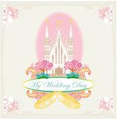 Vintage bruiloft kaart met ringen en elegante katholieke kerk — Stockvector
