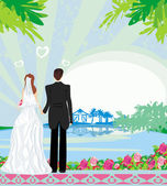 Honeymoon in the tropics — Stock Vector