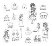 Moda zakupy zbiory zestaw ikon — Wektor stockowy
