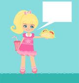 """""""sandwich mignonne petite fille manger — Vecteur"""