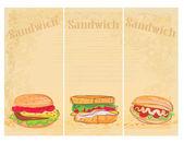 Fondo grunge horizontal con sistema sándwich — Vector de stock